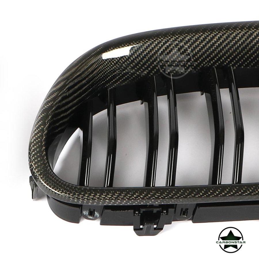 Cstar Carbon ABS Grill Nieren Glanz Schwarz Doppelsteg passend für BMW F10 F11 + M5