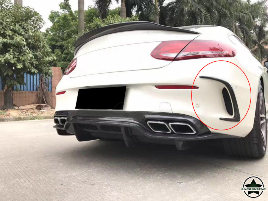 Cstar Carbon Gfk Canards Abdeckung hinten für Mercedes Benz W205 AMG Sportpaket C63 Coupe