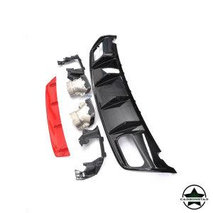 Cstar ABS Heckdiffusor mit Edelstahl Endrohren für für Mercedes Benz W176 A Klasse 2x2 4 Rohr (Rot)