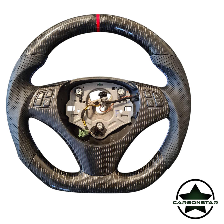Cstar Carbon Alcantara Lenkrad abgeflacht passend für BMW E Serie E90 E91 E92 E93 E82 E88 E81 E87 auch M3 (ohne Schaltwippen)