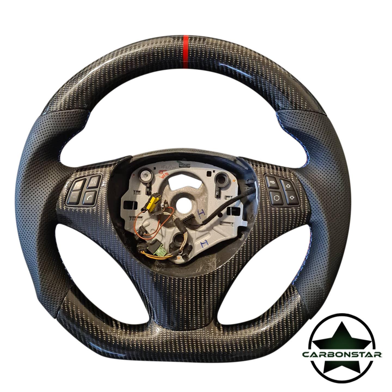 Cstar Carbon Lenkrad abgeflacht passend für BMW E Serie E90 E91 E92 E93 E82 E88 E81 E87 auch M3 (ohne Schaltwippen)