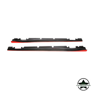 Cstar Carbon Gfk Seitenschweller Rot für Mercedes Benz W176 A W117 CLA A45 CLA45 4 Türer