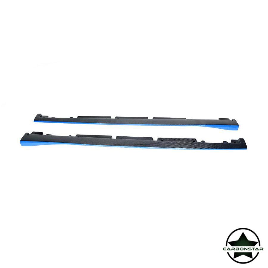 Cstar Carbon Gfk Seitenschweller Blau für Mercedes Benz W176 A W117 CLA A45 CLA45 4 Türer