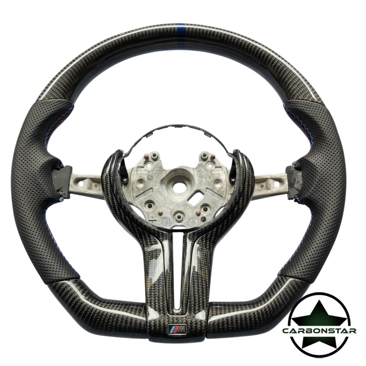Cstar Carbon Lenkrad abgeflacht OEM inkl. Spange passend für BMW M2 F87 M3 F80 M4 F82 F83 F20 F21 F22 F23 F45 F46 F30 F31 F34 F35 F32 F33 F36 F48 Competition